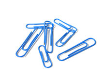 Paper clips. Blue paper clips royalty free stock photo