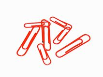 Paper Clips. Red paper clips royalty free stock image