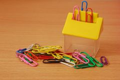 Paper clips with a container Stock Image