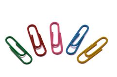 Paper clips of different colors Royalty Free Stock Photos