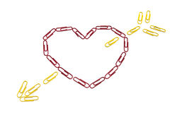 Paper clips heart. On the isolated background Royalty Free Stock Photography