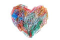 Paper clips heart. On the isolated background Stock Image