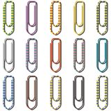 Paper clips in many colors Royalty Free Stock Photos