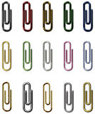Paper clips metal set. Metal paper clips on white background Stock Photography