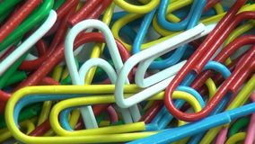 Paper Clips, Multi Colored, Office Supplies stock video footage