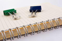 Paper Clips and notebook Royalty Free Stock Images