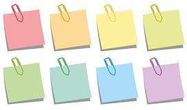 Paper Clips Notepads Colors Stock Photos