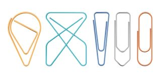 Free Paper Clips Of Various Sapes Vector Illustration. Stock Photos - 140575113