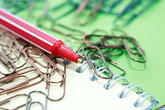 Paper Clips And Pen Royalty Free Stock Image