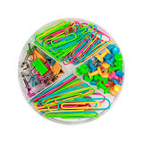 Paper clips and push-pins in a box. Round plastic box with paper clips and push-pins Royalty Free Stock Image