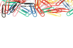 Paper clips rainbow. Paper clips background multicolour rainbow stock images