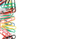 Paper clips rainbow. Paper clips background multicolour rainbow stock image