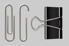 Paper clips. Realistic binder, paper holder isolated on white background, macro metal notebook fasteners. Vector paper. Clip set vector illustration
