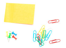 Paper clips, sticker Stock Photos