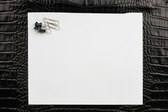 Paper clips and thumbtacks lying on a white paper Stock Image