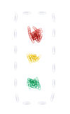 Paper clips Traffic lights. Isolated over white Royalty Free Stock Photo