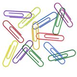 Paper Clips on the white Stock Photo