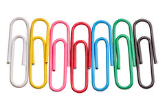 Paper clips on white Royalty Free Stock Photos