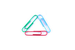Paper clips. On a white background Royalty Free Stock Images