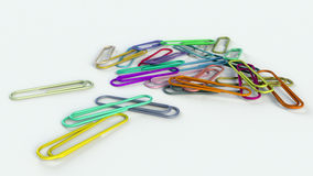 Paper clips on a white background 3d rendering. Colorful paper clips on a white background 3d rendering Stock Photography