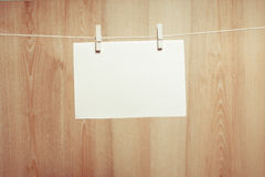 Paper on the clothesline Stock Photo