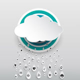 Paper cloud computing with icon in rain drops Royalty Free Stock Image