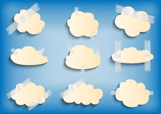 Paper cloud with scotch tape collection Stock Photography