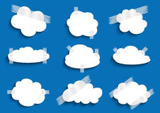 Paper cloud with scotch tape collection. Illustration of paper cloud with scotch tape collection on blue background royalty free illustration