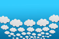 Paper Clouds. Abstract background composed of white paper clouds over blue Royalty Free Stock Photos