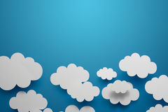 Paper Clouds. Abstract background composed of white paper clouds over blue stock photos
