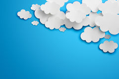 Paper Clouds. Abstract speech bubbles in the shape of clouds used in a social networks on light blue background. Cloud computing concept royalty free stock photo