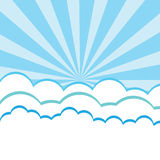 Paper clouds background. With sun rays Royalty Free Stock Photos