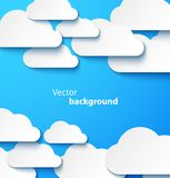 Paper clouds banner with drop shadows Stock Images