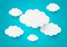 Paper clouds on blue Royalty Free Stock Images