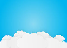 Paper clouds. On blue background Royalty Free Stock Image
