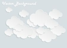 Paper clouds. On gray background Vector Illustration