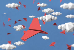 Paper clouds and paper planes  background illustration. Low poly sky, clouds and planes for creative background Royalty Free Stock Image