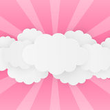 Paper clouds on pink Stock Photos
