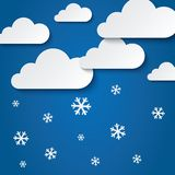 Paper clouds with snowflakes. Abstract background Stock Photography