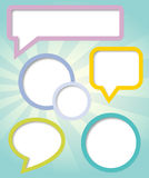 Paper clouds and speech bubbles Stock Image