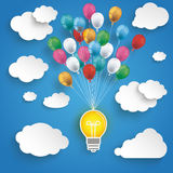 Paper Clouds Striped Blue Sky Balloons Bulb. Paper clouds and hanging bulb with colored balloons on the blue background Royalty Free Stock Image