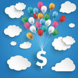 Paper Clouds Striped Blue Sky Balloons Dollar. Paper clouds and hanging dollar  with colored balloons on the blue background Royalty Free Stock Photo