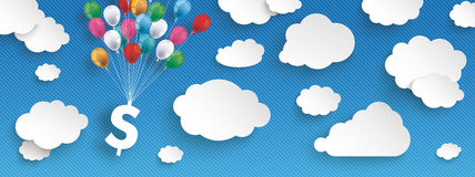 Paper Clouds Striped Blue Sky Balloons Dollar Header. Paper clouds and hanging dollar  with colored balloons on the blue background Stock Photos