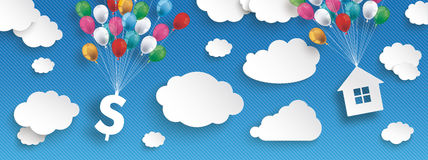 Paper Clouds Striped Blue Sky Balloons Dollar House Header. Paper clouds and hanging dollar and house  with colored balloons on the blue background Stock Image