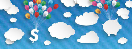 Paper Clouds Striped Blue Sky Balloons Dollar House Header. Paper clouds and hanging dollar and house  with colored balloons on the blue background Stock Photo