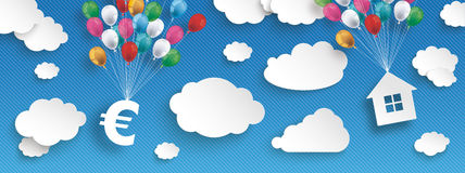 Paper Clouds Striped Blue Sky Balloons Euro House Header. Paper clouds and hanging euro and house  with colored balloons on the blue background Royalty Free Stock Photography