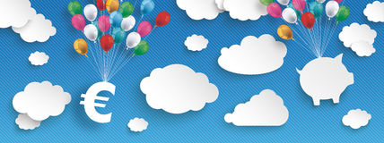 Paper Clouds Striped Blue Sky Balloons Euro House Header. Paper clouds and hanging Euro and house  with colored balloons on the blue background Stock Image