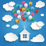 Paper Clouds Striped Blue Sky Balloons House. Paper clouds and hanging house with colored balloons on the blue background Royalty Free Stock Photos
