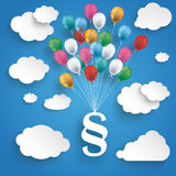 Paper Clouds Striped Blue Sky Balloons Paragraph. Paper clouds and hanging paragraph with colored balloons on the blue background Royalty Free Stock Image