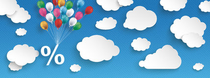 Paper Clouds Striped Blue Sky Balloons Percent Header. Paper clouds and hanging percent  with colored balloons on the blue background Stock Images